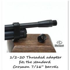 Slide on 1/2 x 20 UNF threaded adapter for the Crosman barrels.